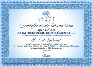 Mon diplôme de radiesthésie complémentaire
